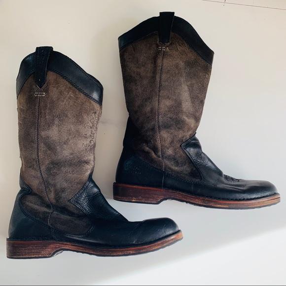 818b808e450 UGG Black Gray Western Cowboy boots Leather 9.5